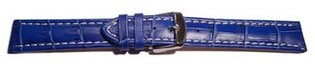 Watch strap - Genuine leather - Croco print - blue