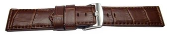 Watch strap - genuine leather - croco - dark brown