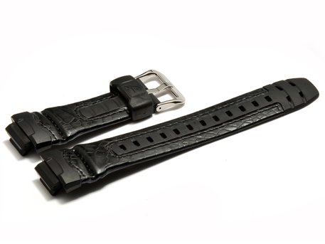 Casio Watch strap for G-304RL, Leather/rubber, black