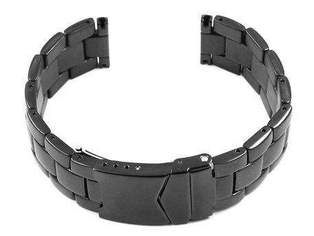 Solid Stainless Steel watch band - Deployment - polished - black