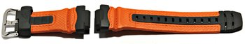 Watch strap Casio f. G-315RL-4AV,rubber grey/Leather orange