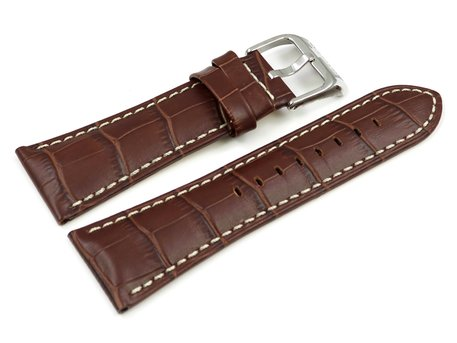 Festina Watch Band for F16235 /  F16234 - Leather - Medium brown - White stitching