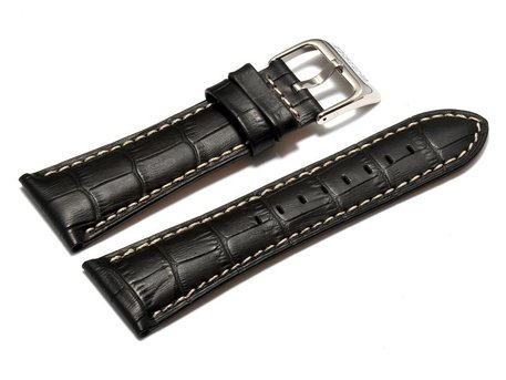 Festina Watch Strap for F16235 /  F16234 - Leather - Black - White stitching