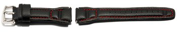 Watch strap Casio f. AQF-102WL-4,Leather,black,red stitch