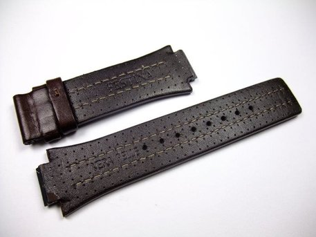 Festina dark brown replacement strap for F16280 and F16185 - white stitching