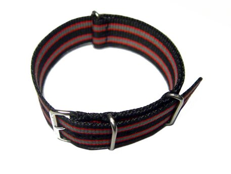 Watch strap - Nato - Nylon - Waterproof - black / red / grey