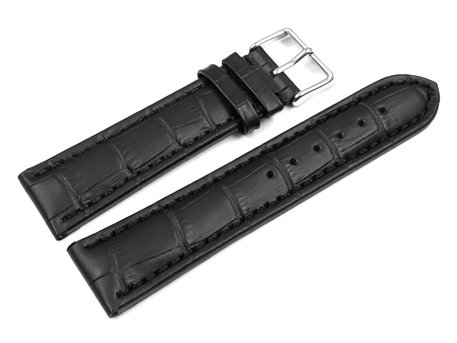 Watch strap - Genuine leather - Croco print - black
