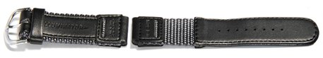 Watch strap Casio for W-94HF-8AVH, Textile/Leather, black/dark-grey