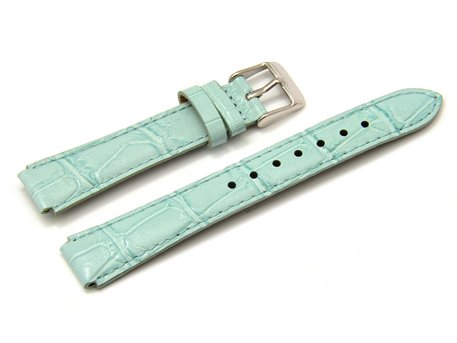 Watch strap Casio for LTP-2069L-7A2, Leather, light blue, croco print