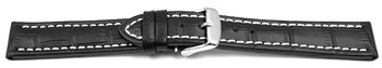 Watch strap - Genuine leather - Croco print - black white...