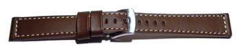 Watch strap - Genuine saddle leather - dark brown white...
