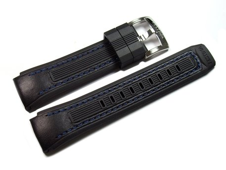 Festina Replacement Watchstrap for F16223 and F16222- Black Leather/Rubber with blue seams