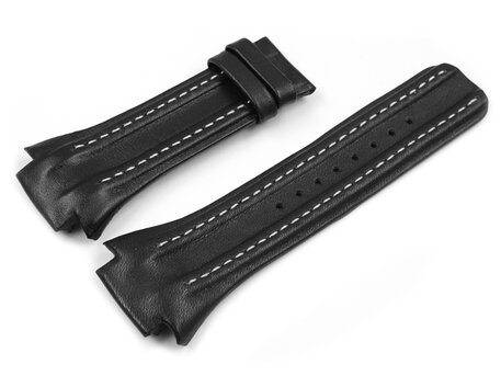Black leather Lotus strap for 15410, white stitching