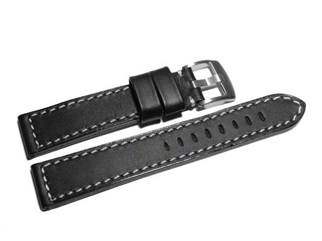 Watch strap Genuine saddle leather black white stitching 18mm 20mm 22mm 24mm