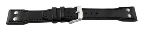 Watch strap - Genuine leather - Vintage look - black