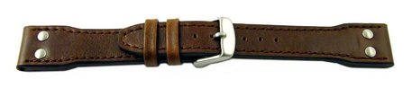 Watch strap - Genuine leather - Vintage look - dark brown