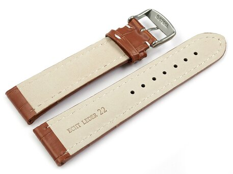 Watch strap - Genuine leather - Croco print - brown - XL