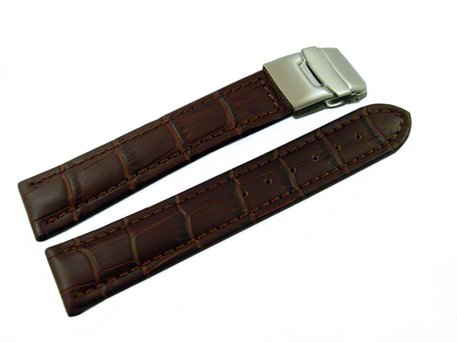 Deployment clasp - Genuine leather - Croco stamp - dark brown