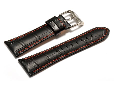 Festina - Watch band for F16235 /  F16234 - Black leather, orange / red stitching