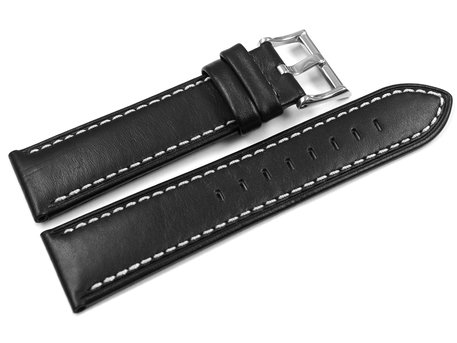 Lotus Watch Strap for 15415, black leather, white stitching