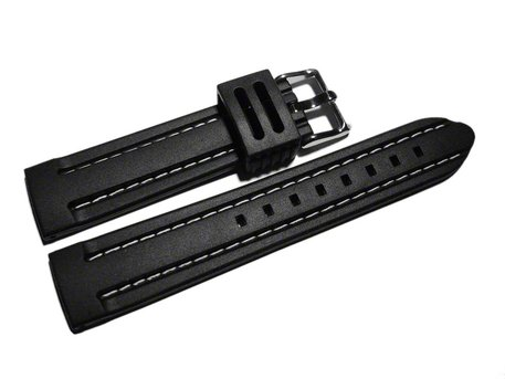 Watch strap - Silicone - Waterproof - black with white stitch