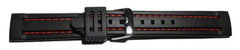 Watch strap - Silicone - Waterproof - black with red stitch