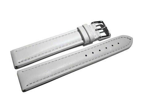 Watch strap - Leather - smooth - white - XL - 18-28 mm