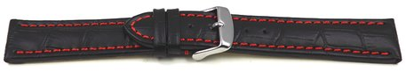Watch strap - Genuine leather - croco print - black w. red stitch