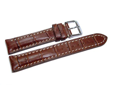 Watch band - strong padded - croco print - dark brown