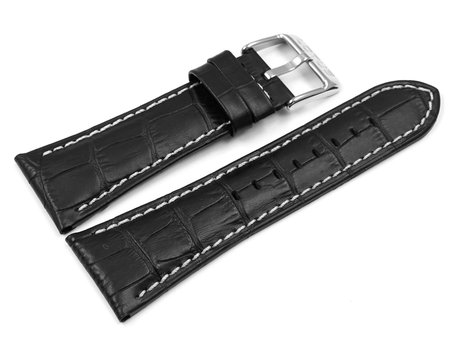 Replacement watch band by Lotus 15411, 15411/2, black leather, white stitching