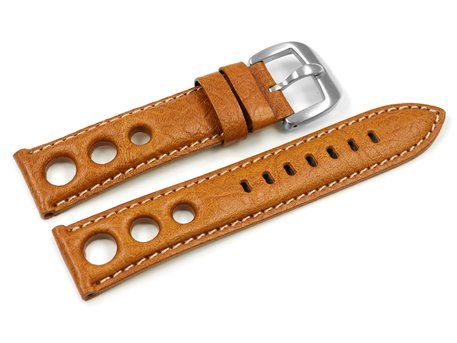 Lotus Watch Band for 15322/7 and 15323 - Leather - Perforation - Brown - White stitching