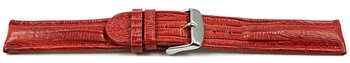 Watch strap - genuine leather - Tegu print - red
