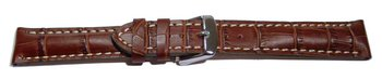 Watch band - strong padded - croco print - dark brown - XS