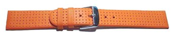 Watch band - Genuine leather - smooth - perforated - orange