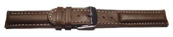 Watch strap - Genuine leather - smooth - dark brown
