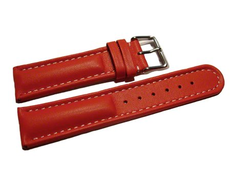 Watch strap - Genuine leather - smooth - red