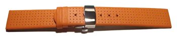 Butterfly - Genuine leather - perforated - smooth - orange