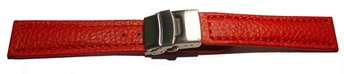Deployment clasp - Genuine grained leather - Eptide - red