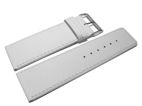 Watch strap - genuine leather - white - 30, 32, 34, 36, 38, 40 mm