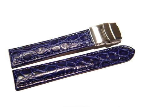 Deployment clasp - Genuine leather - African - blue