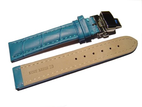 Butterfly - Watch strap - Genuine leather - croco print - turquoise
