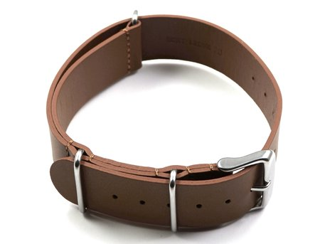 Watch strap - Nato - genuine leather - light brown
