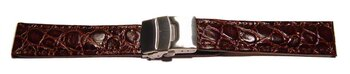 Deployment clasp - Genuine leather - African - dark brown