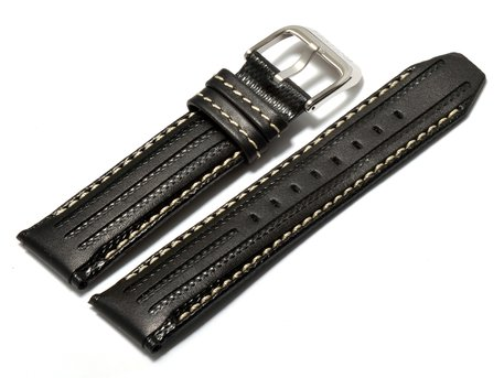 Festina watch band - for F16489, F16488 - Leather - Black - White stitching