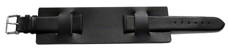 Watch strap - Genuine leather - with Pad (Underlay) - black