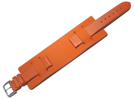 Watch strap - Genuine leather - with Pad (Underlay) - orange