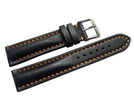 Watch strap - strong padded - smooth - black with orange stitch