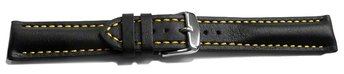 Watch strap - strong padded - smooth - black with yellow...
