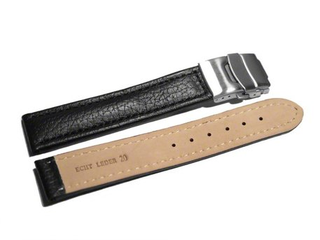 Deployment clasp - Genuine grained leather - Eptide - black