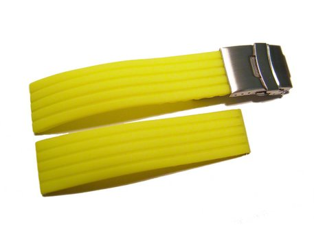 Deployment clasp - Silicone (Rubber) - Stripes - Waterproof - yellow